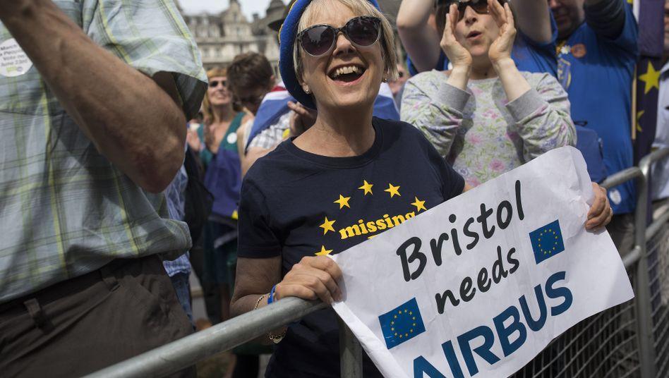 Demonstrantin in London