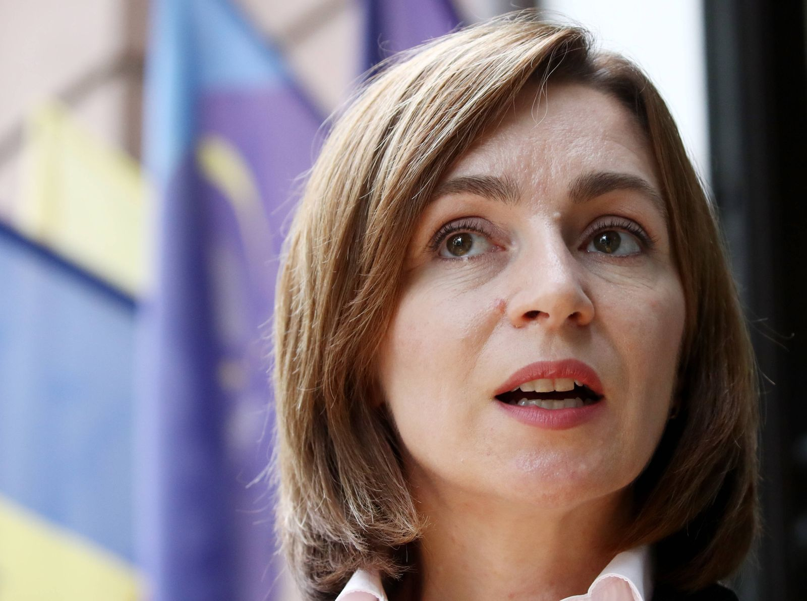 CHISINAU, MOLDOVA - OCTOBER 30, 2020: The leader of the Party of Action and Solidarity, presidential candidate Maia Sand