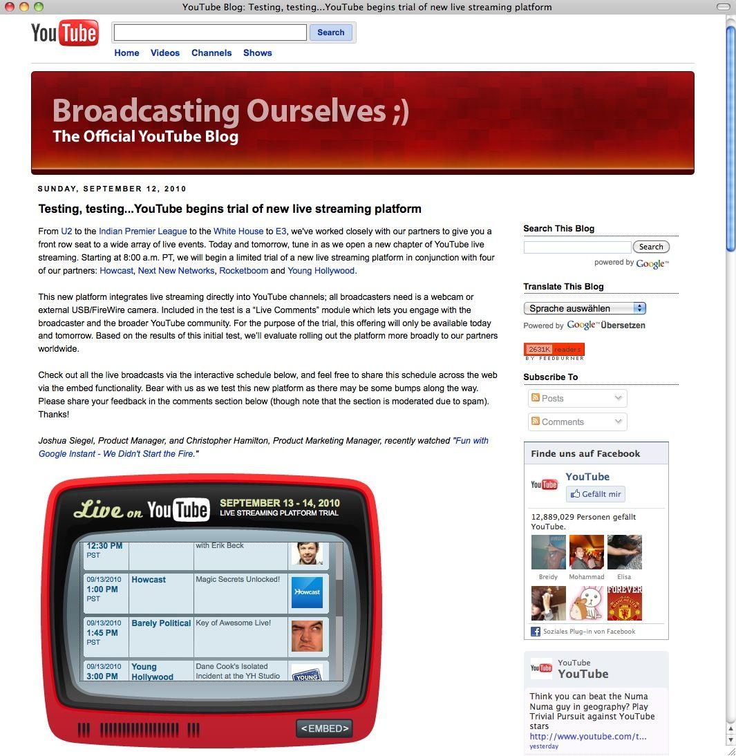 Screenshot YouTube / Live Stream Platform