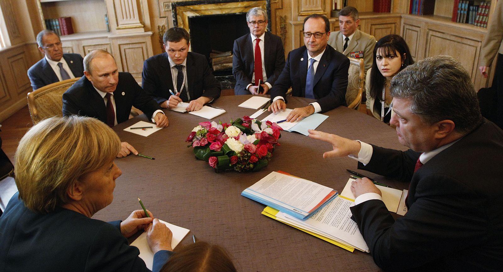 Merkel Hollande Poroshenko Putin