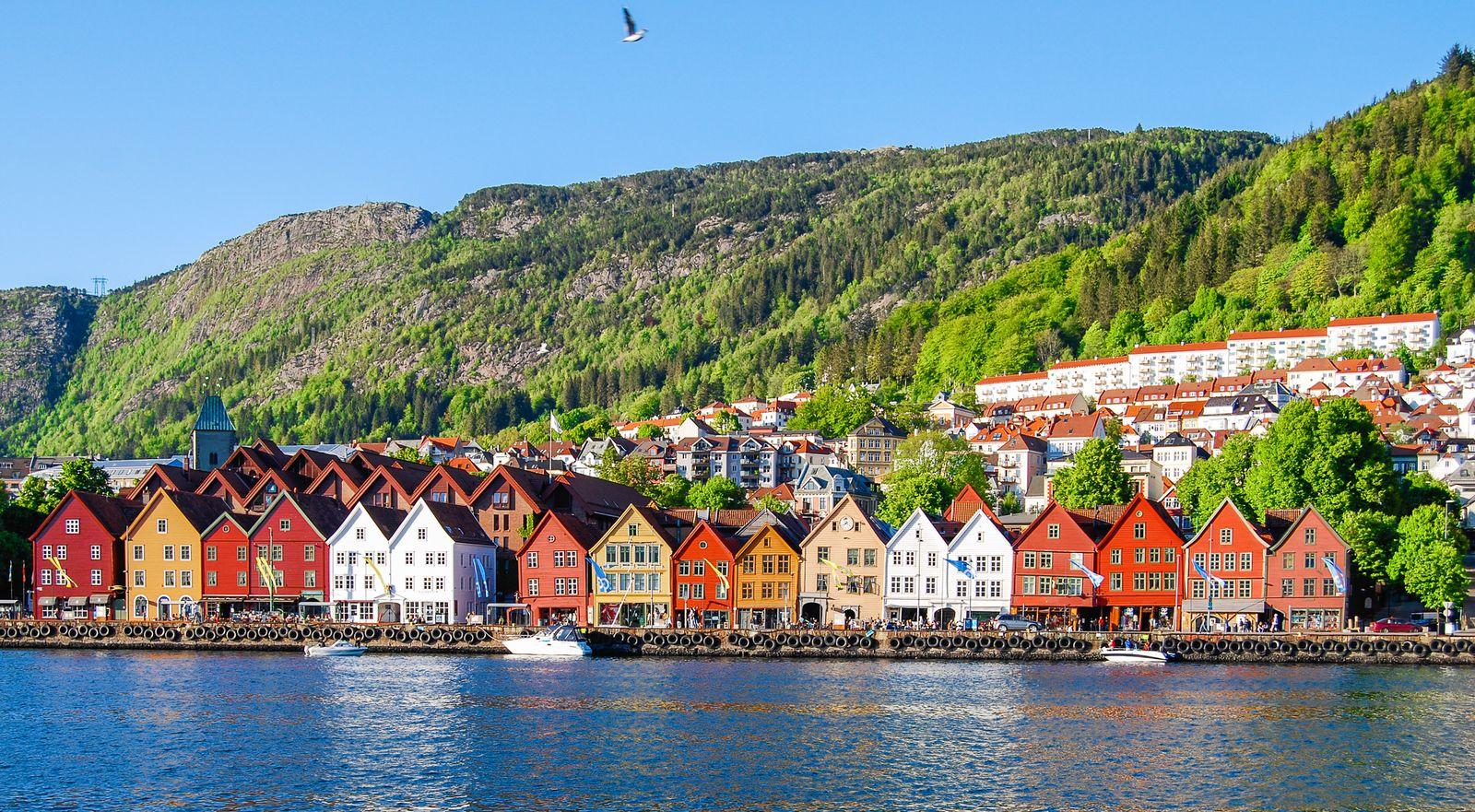 EINMALIGE VERWENDUNG Norwegen/ Bergen/ Stadtansicht