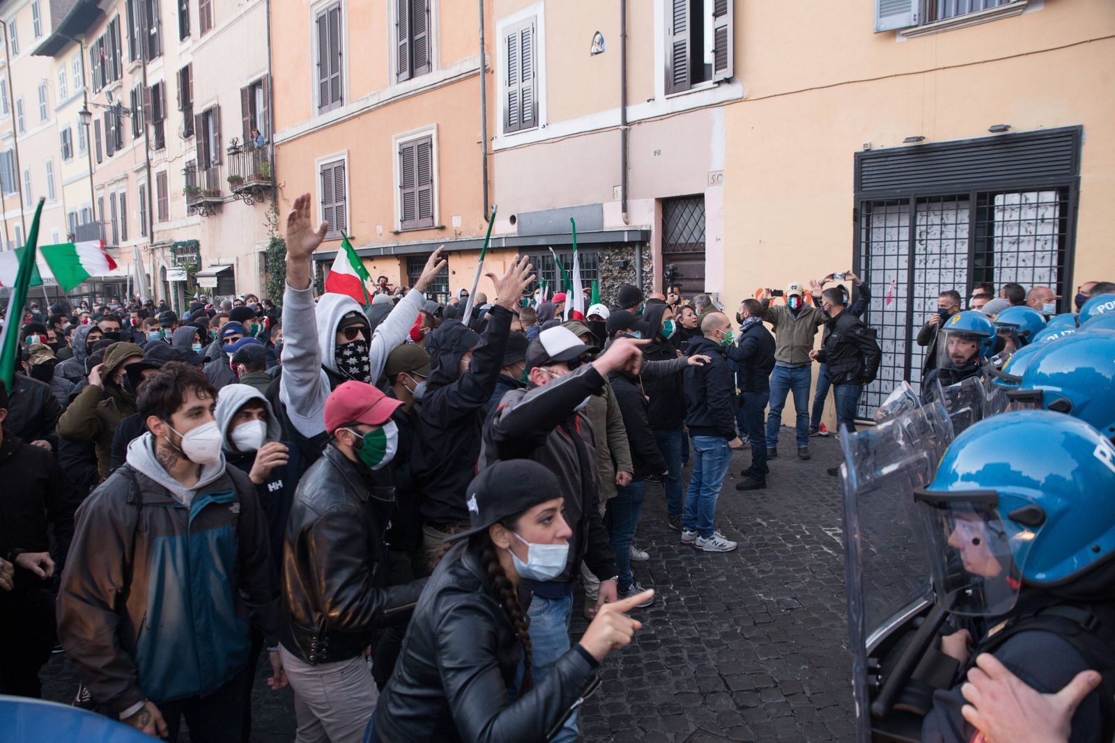 Italy: Protest of Tricolor Masks in Rome Moments of clashes of the demonstrators with the police at Campo de Fiori in R