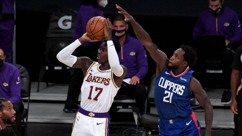 Lakers-Neuzugang Dennis Schröder im Spiel gegen Clippers-Mann Patrick Beverly am 11. Dezember in Los Angeles