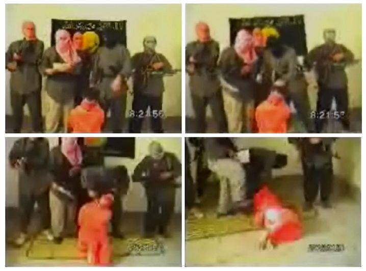 Ausschnitt aus einem Terror-Propagandavideo, das die Tötung der Geisel Kim Sun-il zeigt