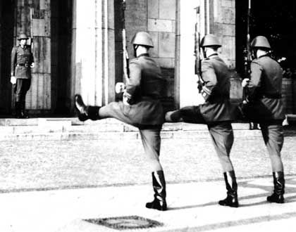 German soldiers haven't marched the Prussian goose-step since the disbanding of the East German NVA army.