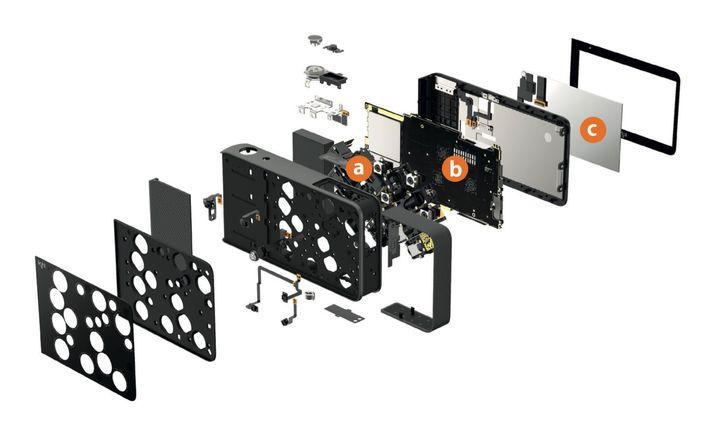 Die Light L16 in einer Explosionsansicht. Die wesentlichen Komponenten sind die Kameramodule (a), die Elektronik mit einer Snapdragon-CPU (b) und ein 5-Zoll-Touchscreen (c).