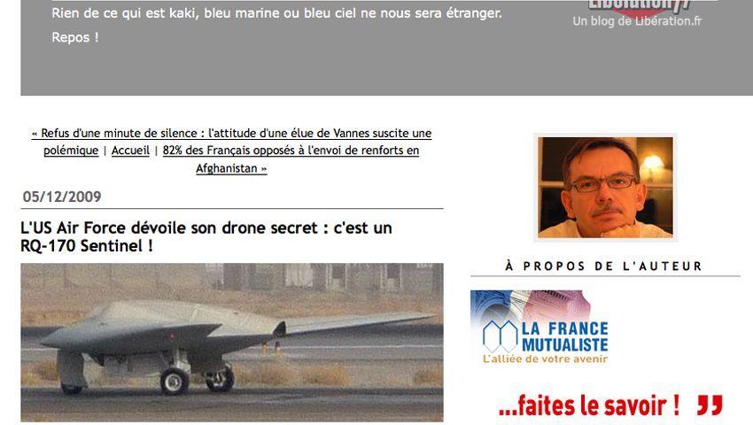 Ein Foto der US-Drohne beim Blog Secret Défense: Das Geheimnis ist keines mehr
