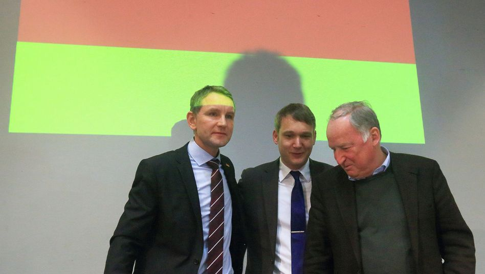 AfD-Politiker Björn Höcke (l-r), André Poggenburg und Alexander Gauland