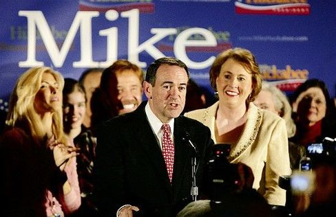 Republican presidential candidate and former Arkansas governor Mike Huckabee: Rich on charm, poor on funding