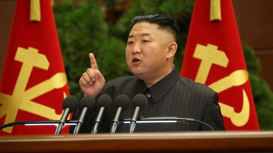 Nordkoreas Diktator Kim Jong Un bei einer Parteiveranstaltung am Dienstag