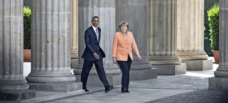 Verbündete Obama, Merkel am Brandenburger Tor