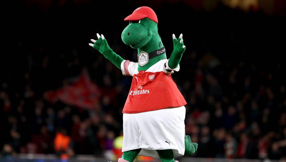 """Grund zur Freude: Arsenals Maskottchen """"Gunnersaurus"""""""
