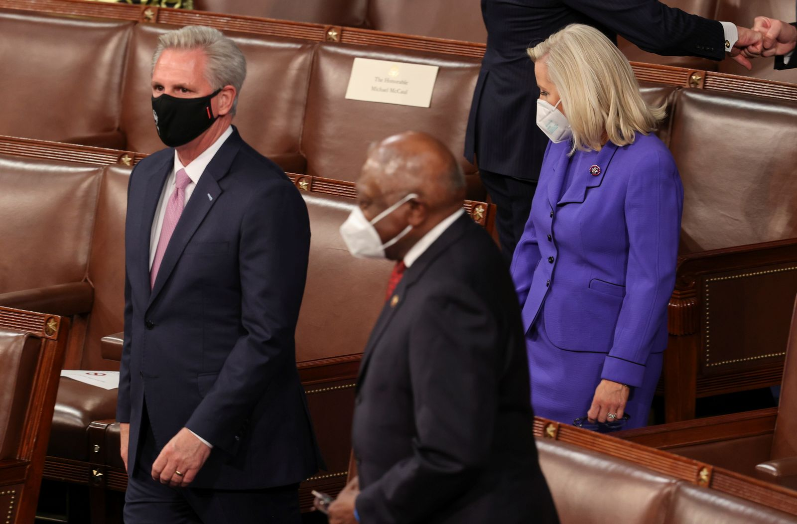 U.S. House Minority Leader McCarthy and Republican Conference Chairperson Cheney arrive before the start of President Joe Biden's first address to a joint session of the U.S. Congress in Washington