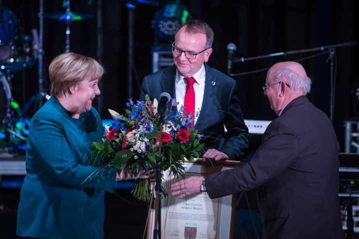 Merkel at an appearance earlier this month in Templin, just north of Berlin.
