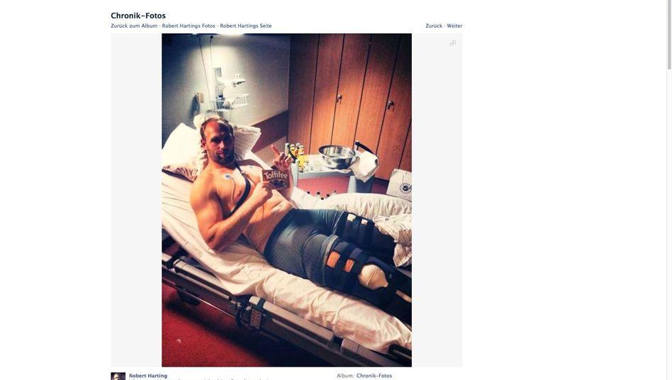 Facebook-Nachricht: Harting im Krankenhausbett