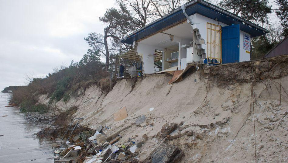 Abgebrochenes Küstenstück in Zempin auf Usedom