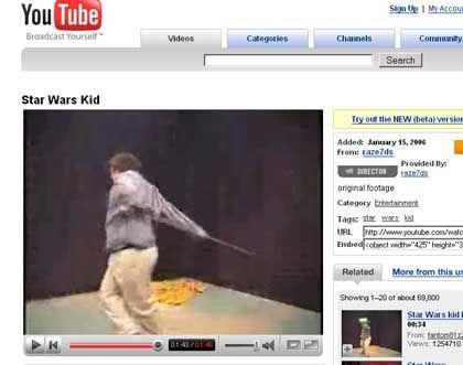 """""""Star Wars Kid"""": Die Videos des von Mitschülern verspotteten kanadischen Jungen sind noch immer bei YouTube zu sehen"""