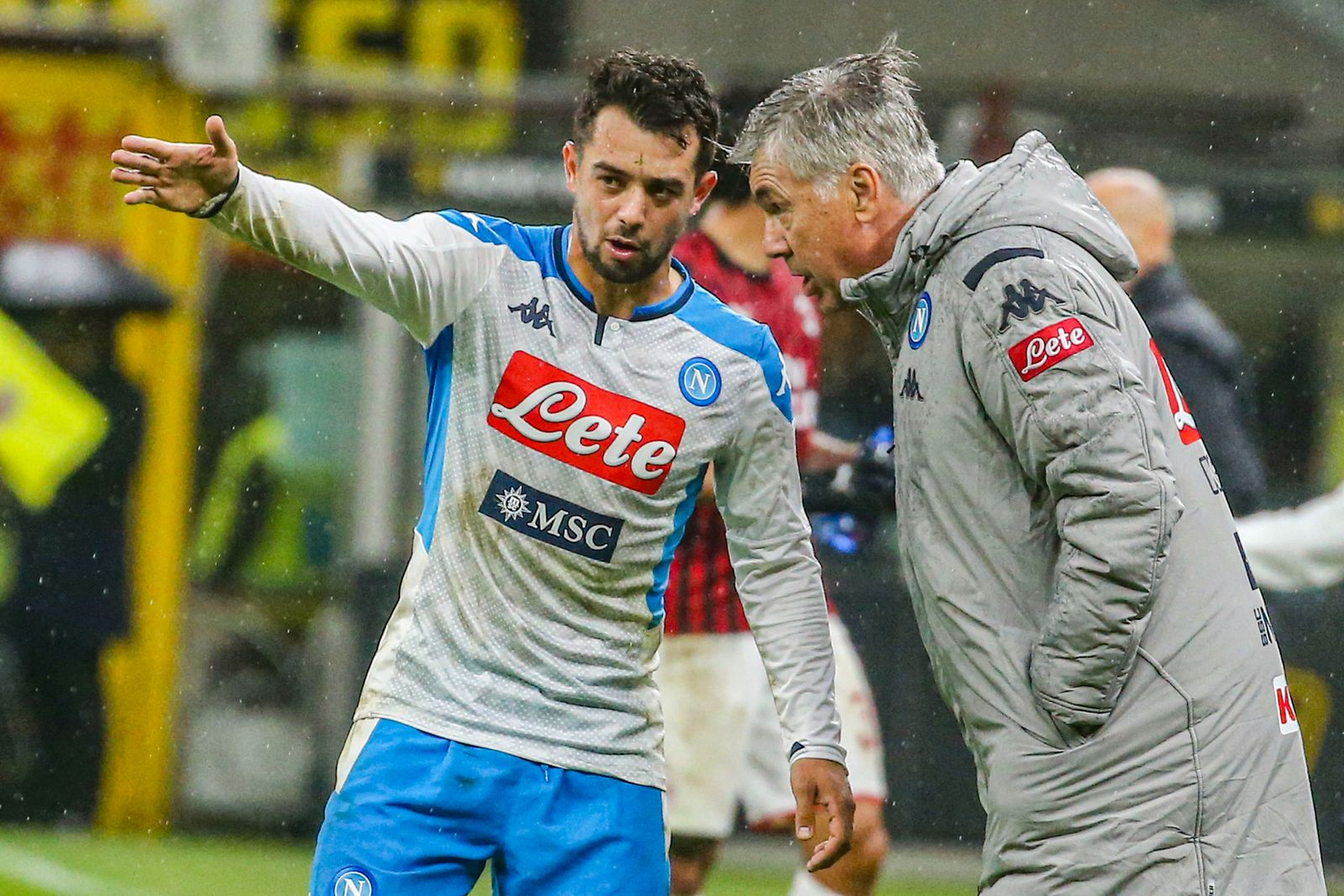 Napoli's German forward Amin Younes argues with Napoli's