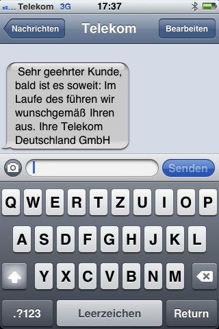 Warteschleife - Telekom SMS