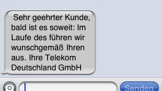 Service-SMS der Telekom: Maschine oder Rheinländer?