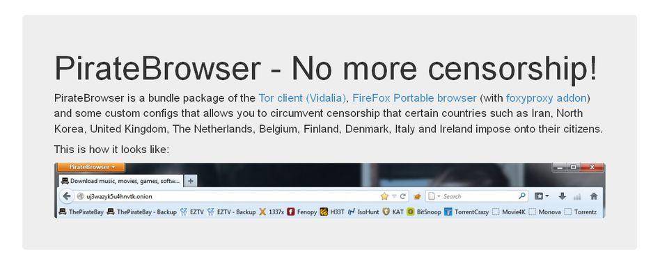 """PirateBrowser: Ein Tor-Browser der File-Sharing-Plattform """"The Pirate Bay"""""""