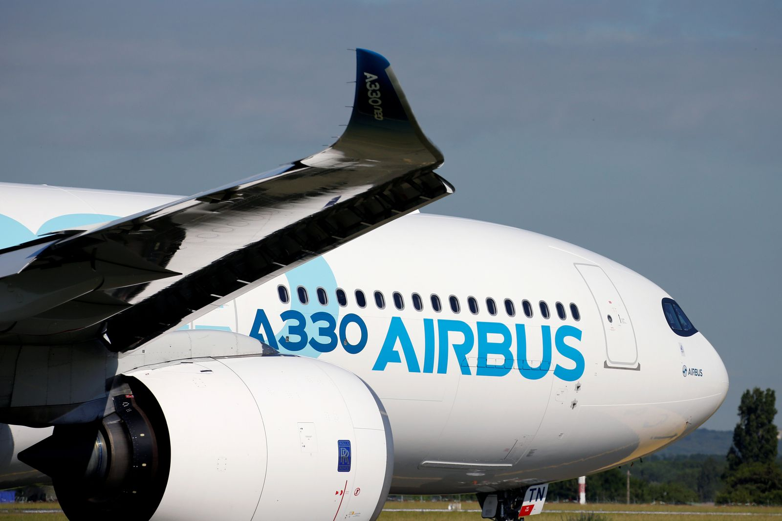 An Airbus A330 NEO is seen on a taxi way during the 53rd International Paris Air Show at Le Bourget Airport near Paris