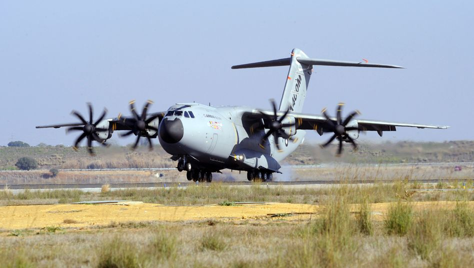 The Airbus A400M military transporter landing after its first test flight on December 11, 2009 in Seville.