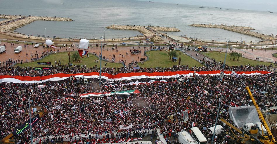 A file photo shows a 2011 rally in the Syrian port of Tartus.
