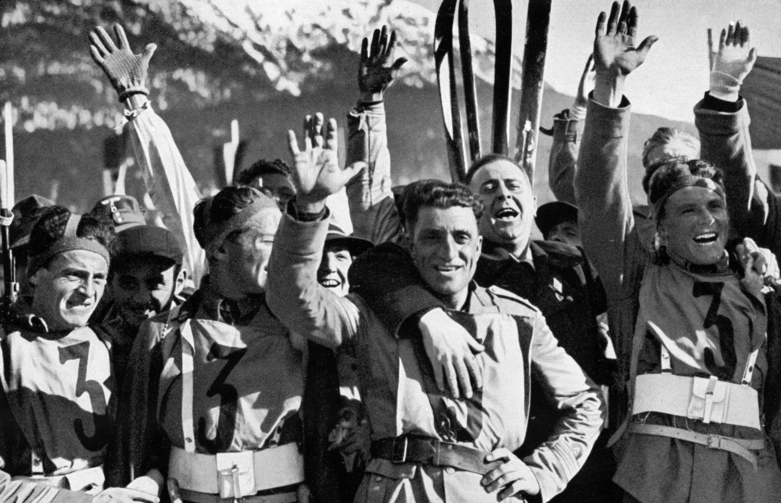 The Italian crew jubilant and pleased with their victory in the military ski patrol. Â PUBLICATIONxINxGERxSUIxAUTxONLY