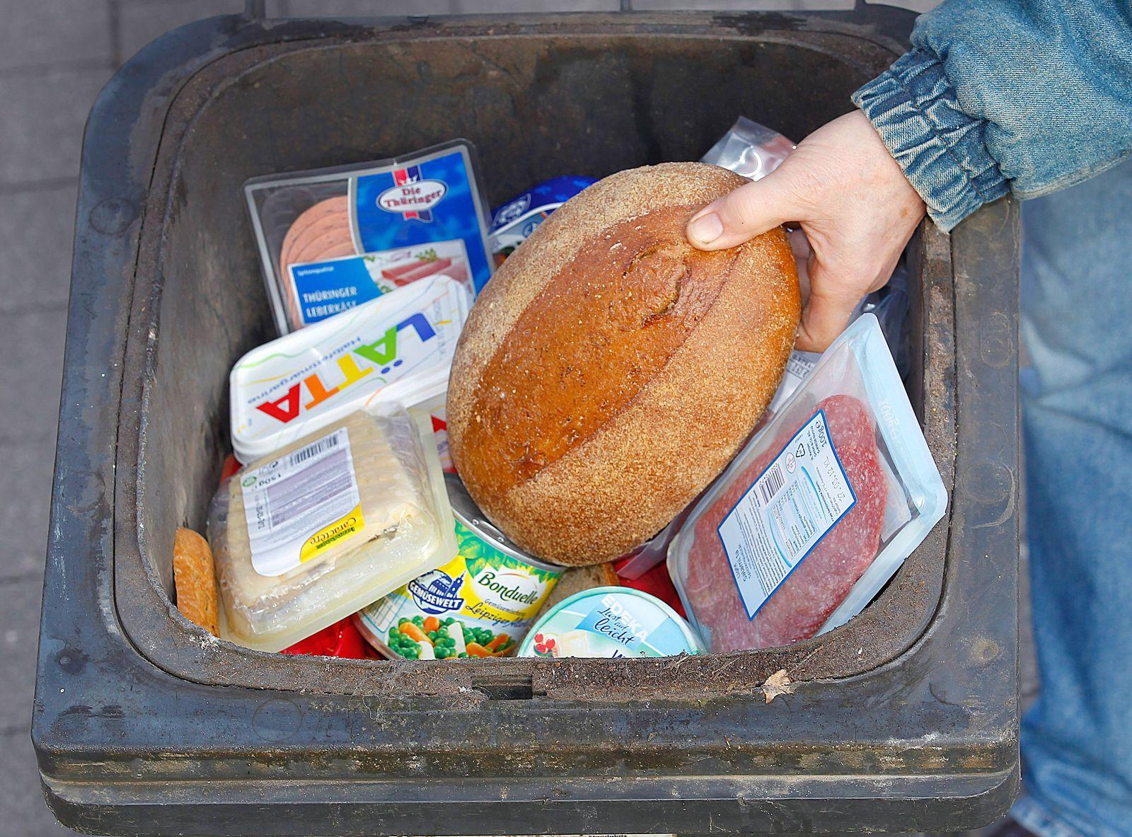 EINMALIGE VERWENDUNG Lebensmittel Entsorgung / Müll / Abfall