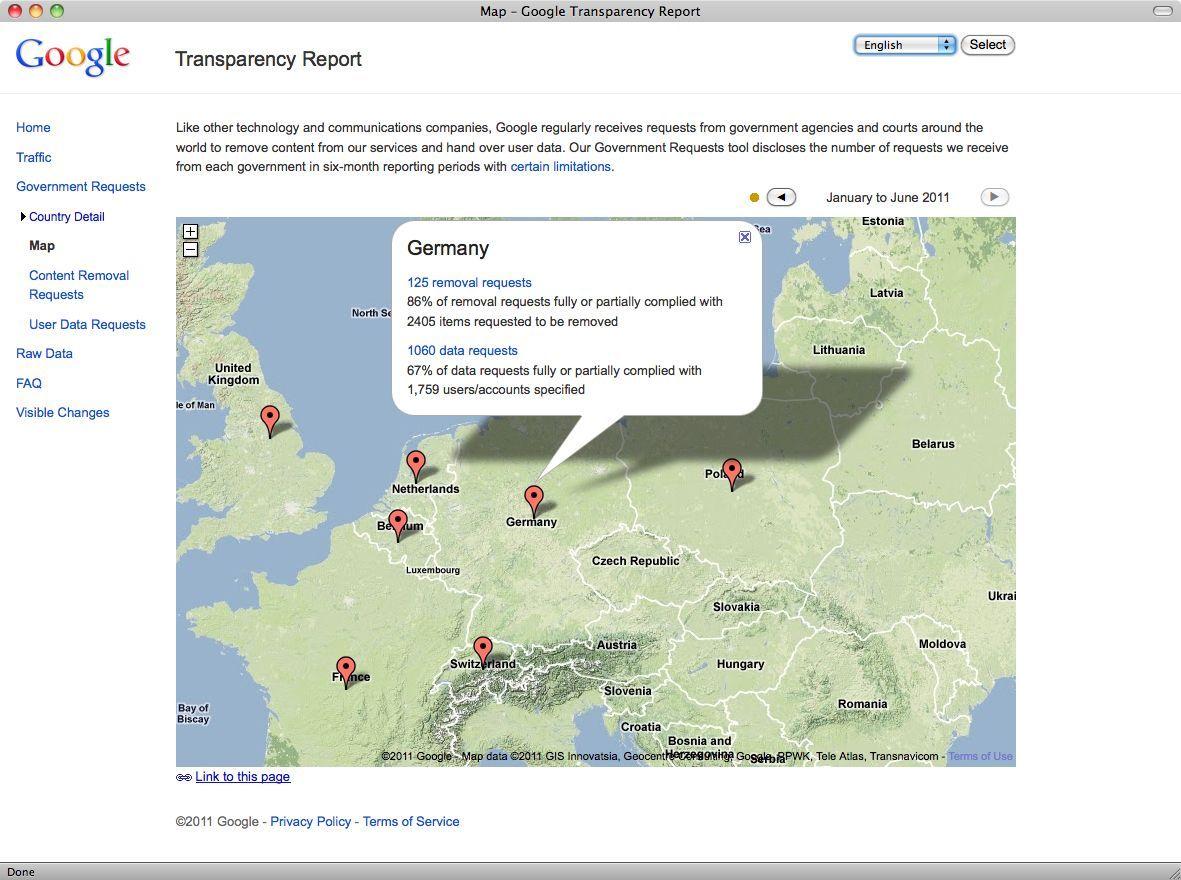 Google Transparency Report/ Screenshot