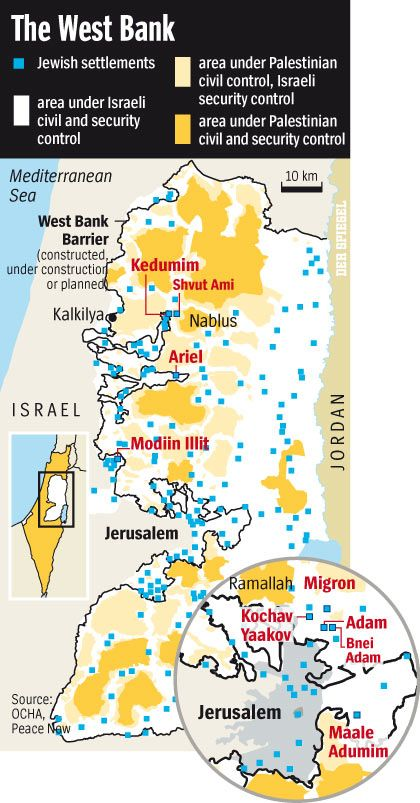 Map: Settlements in the West Bank