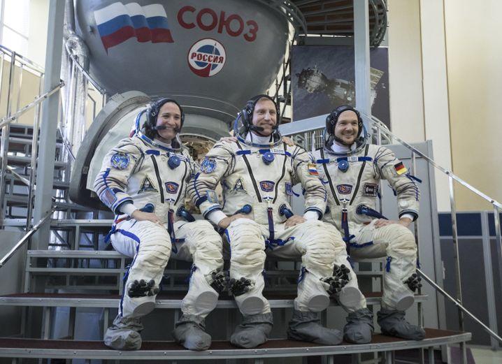 ISS-Crew von l. nach r.: Serena Auñón-Chancellor, Sergej Prokopjew, Alexander Gerst