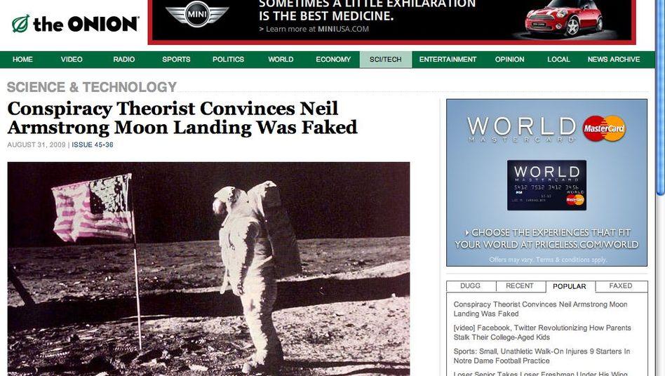 Aberwitzige Botschaft, ernsthaft serviert: The Onion kommt im Gewand einer seriösen Nachrichtenseite, verbreitet aber nichts als Satire