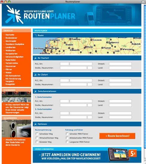 Routenplaner-Webseite: Gewinnspielteilnahme kostet 60 Euro