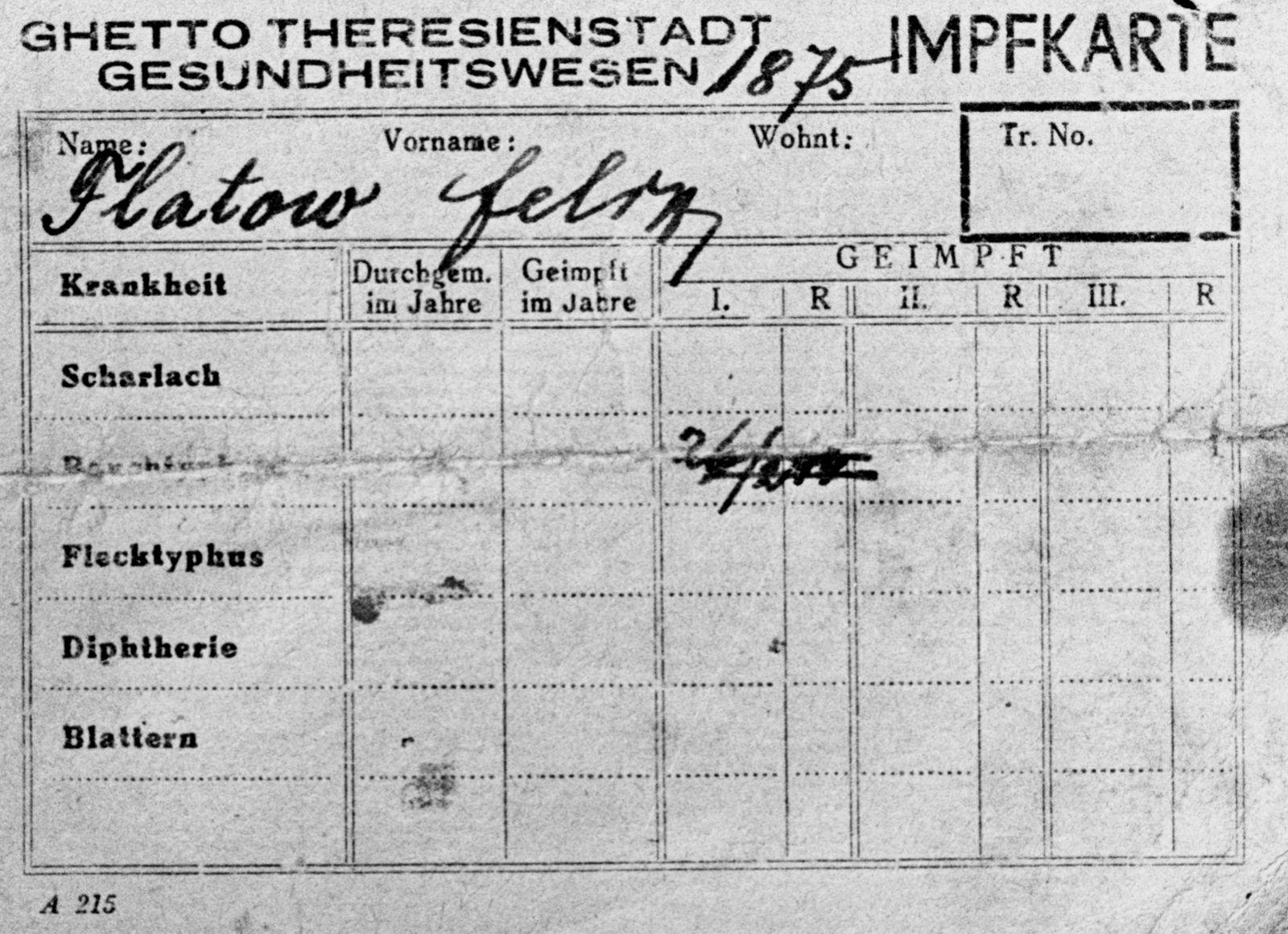 Impfkarte der Abteilung Gesundheitswesen der jüdischen Selbstverwaltung Theresienstadt für Felix Flatow