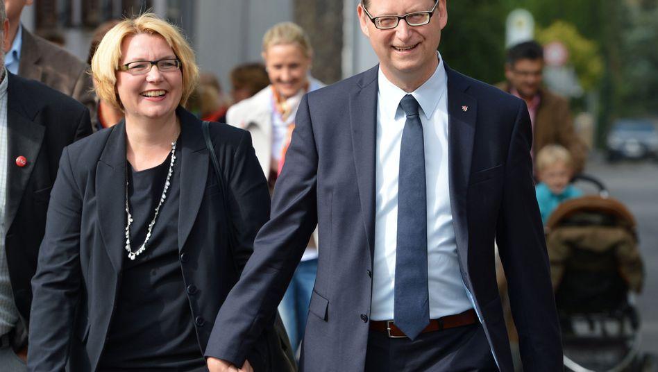 Schäfer-Gümbel mit seiner Frau Annette: Mögliche Mehrheit für SPD und Grüne