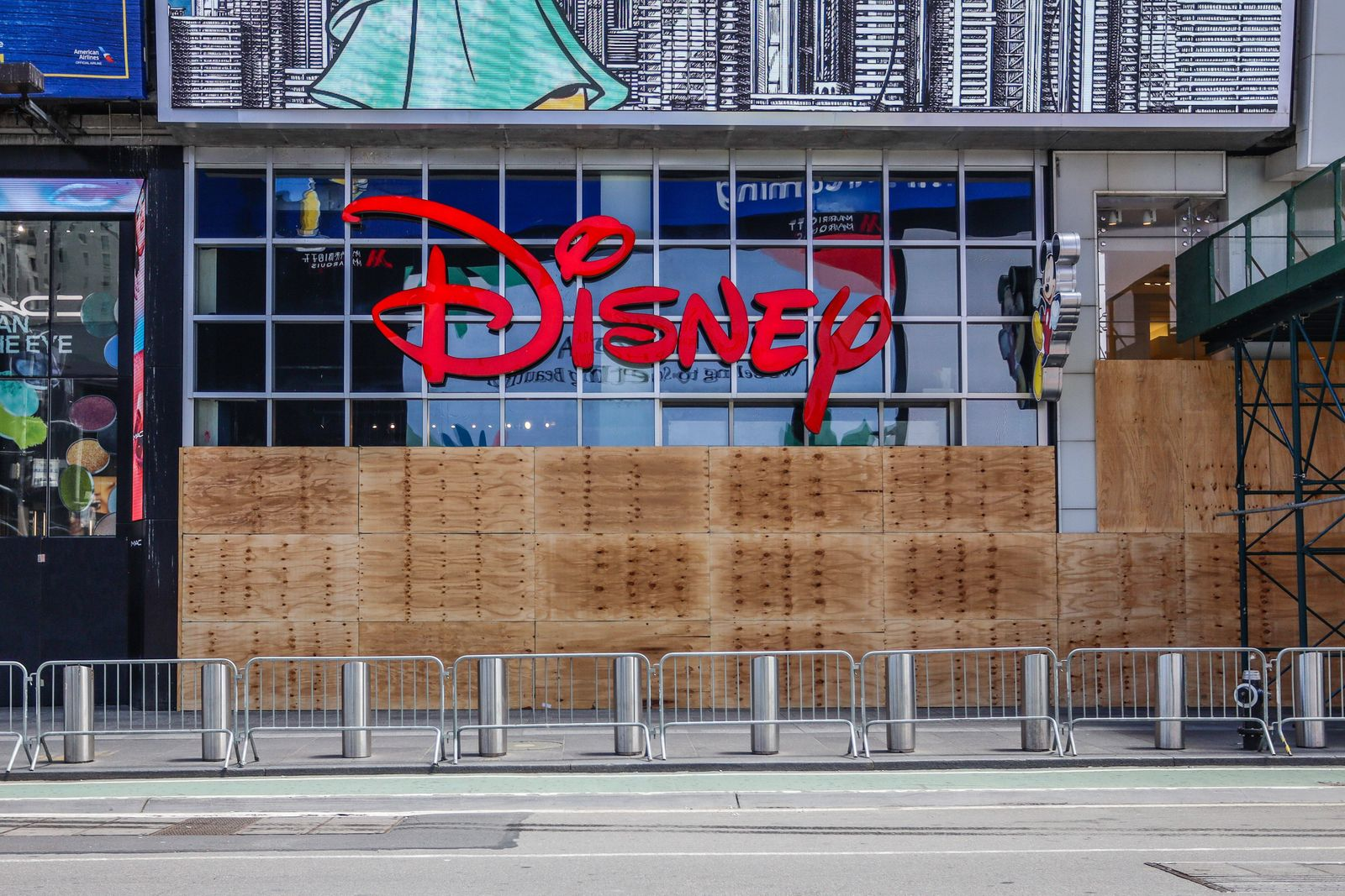 June 4, 2020, New York, New York, USA: Times Square Disney Store Seen with Siding for Protection After Wave of Looting