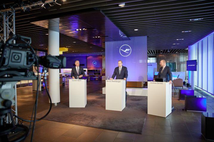 Lufthansa-Bilanz-Pressekonferenz aus dem First-Class-Terminal in Frankfurt am Main