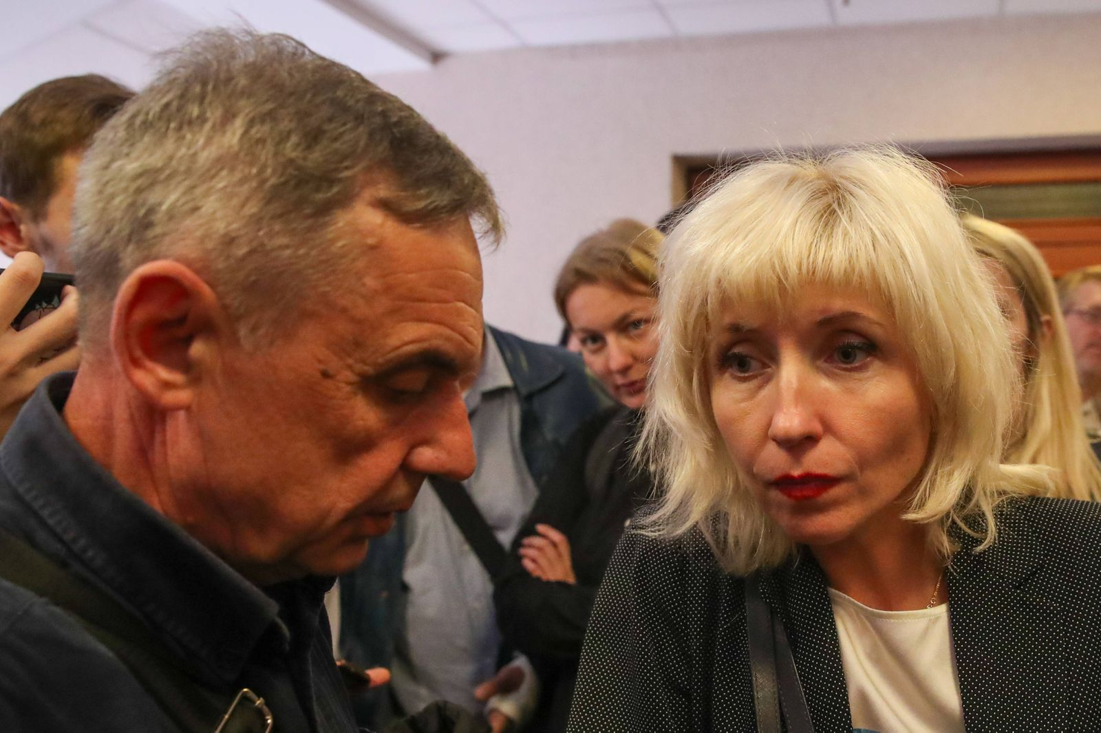 MINSK, BELARUS - SEPTEMBER 21, 2020: Maria Kolesnikova s father Alexander Kolesnikov (L) and lawyer Lyudmila Kazak talk