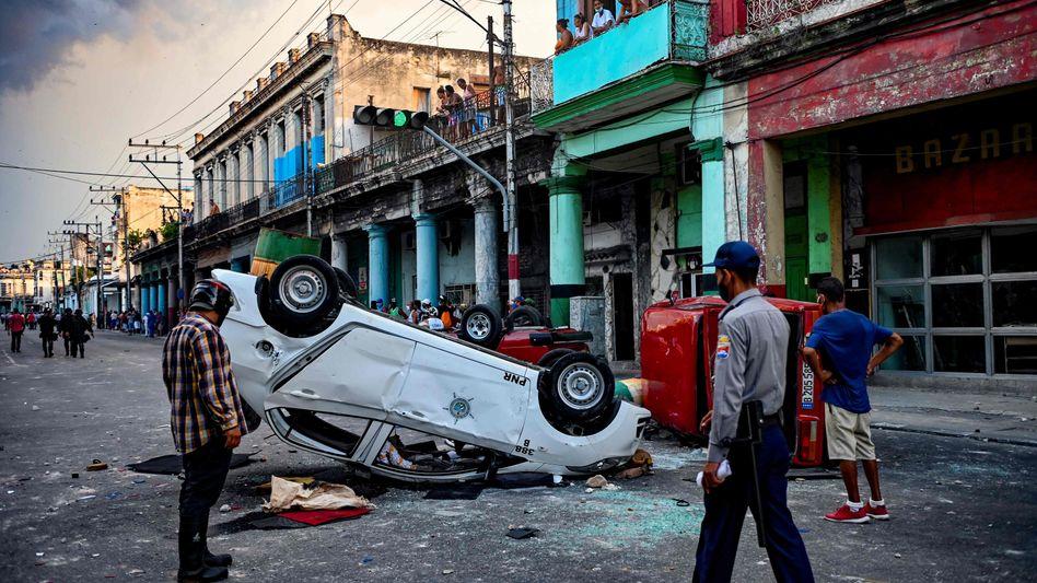Spuren der Demos in Havanna