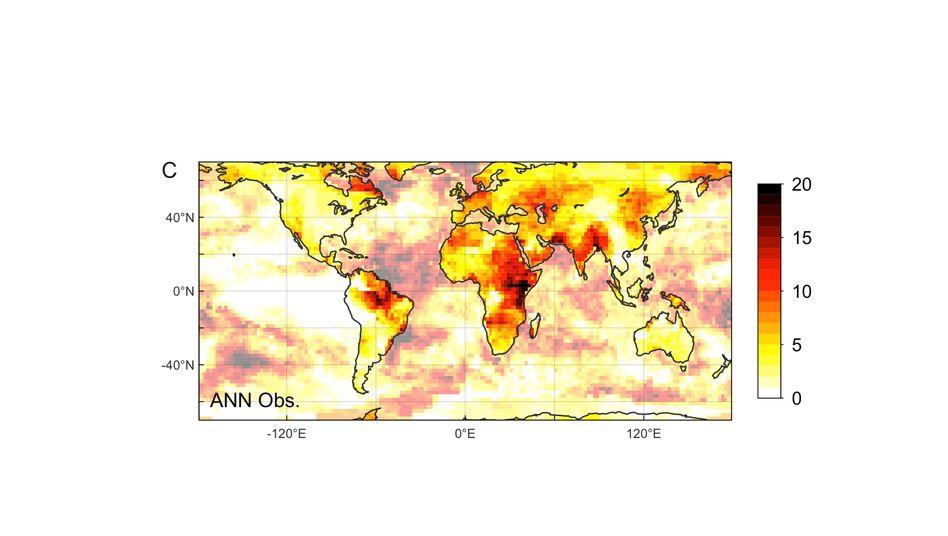 Statistik: Die Skala zeigt, um welchen Faktor Hitzerekorde zugenommen haben