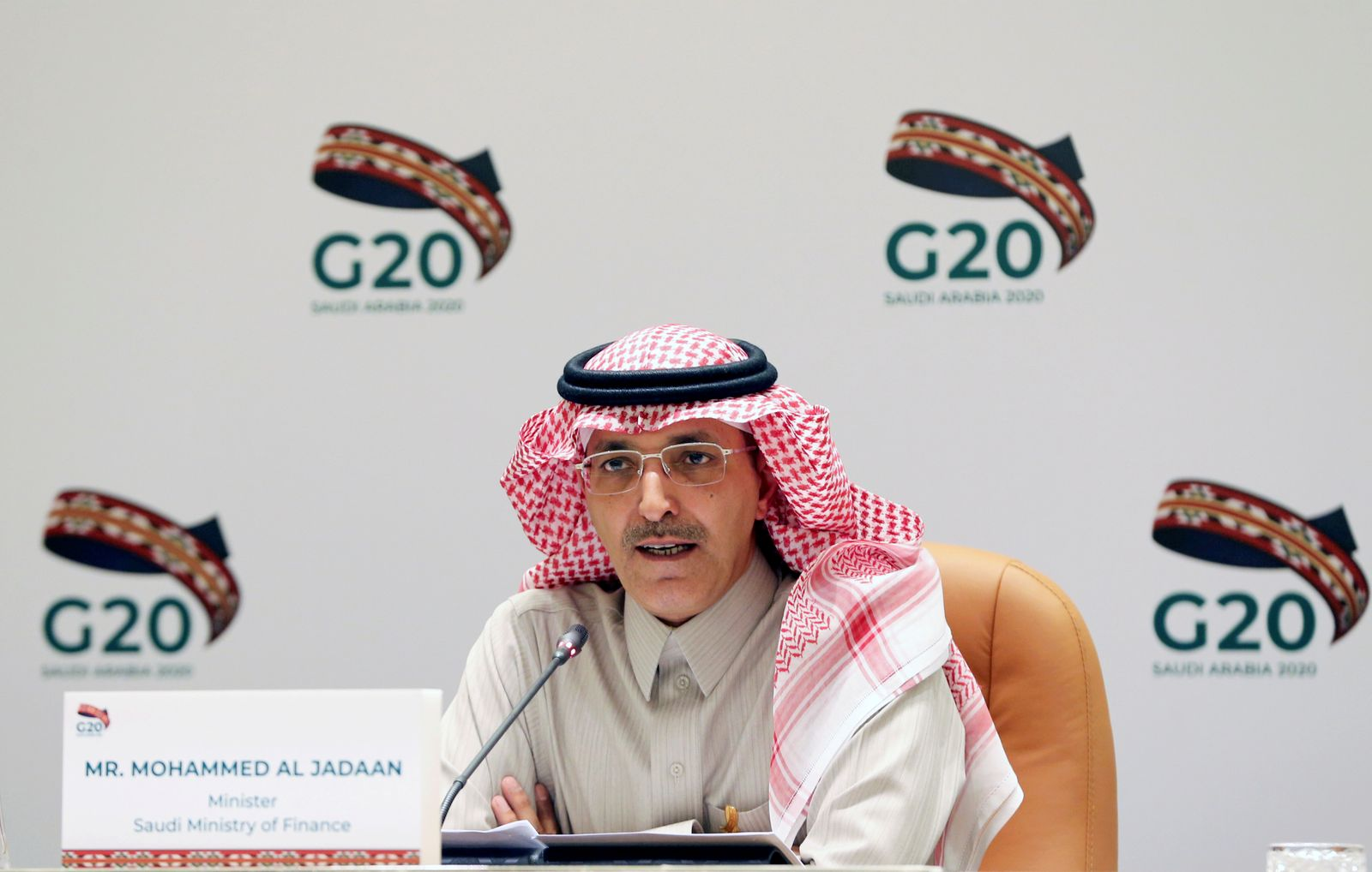 FILE PHOTO: Saudi Minister of Finance Mohammed al-Jadaan speaks during a media conference with Saudi Arabia's central bank governor Ahmed al-Kholifey, in Riyadh