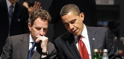 Finanzminister Geithner, Präsident Obama: Defizitsenkung angekündigt