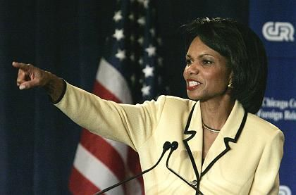 Pointing the way to diplomacy? US Secretary of State Condoleezza Rice has offered to join talks with Iran.