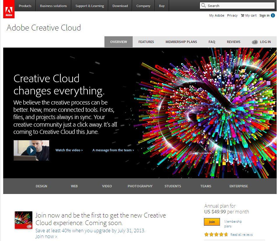 NUR ALS ZITAT Screenshot Adobe / Creative Cloud