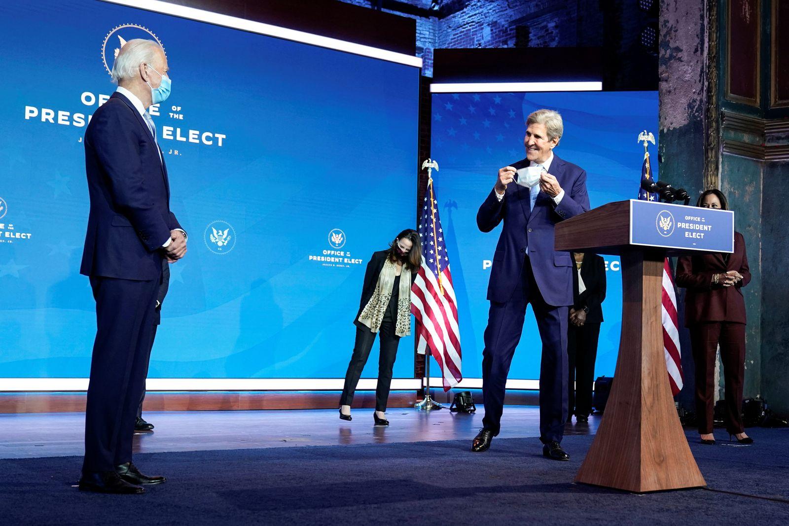 President-elect Joe Biden's nominee to be a special envoy for climate change John Kerry speaks in Wilmington, Delaware