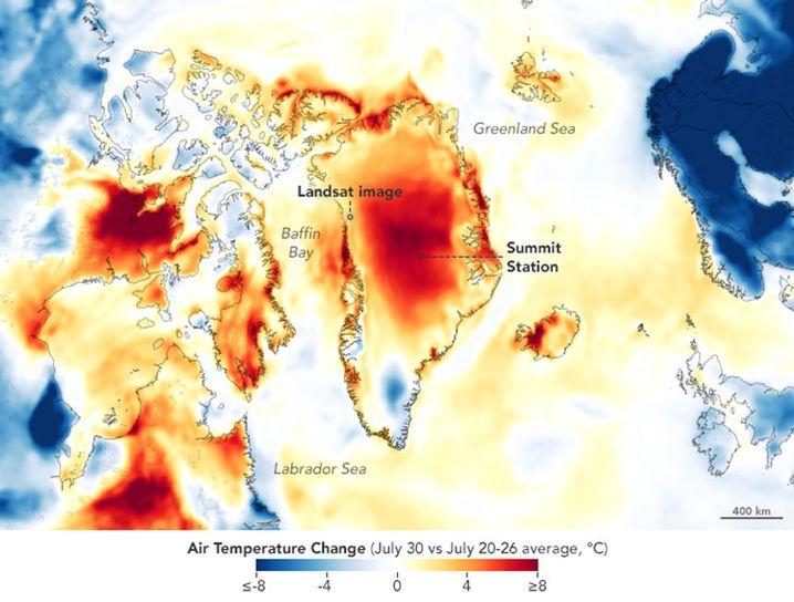 Lufttemperatur am 30 Juli im Vergleich zur Vorwoche vom 20. bis 26. Juli