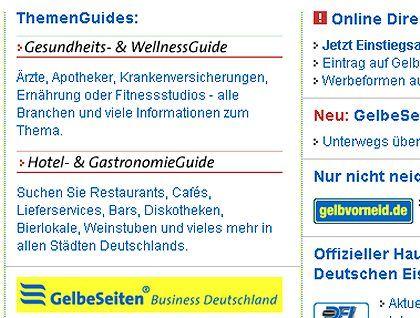 """Allgemeingültige Beschreibung: """"Gelbe Seiten"""" im Internet:"""