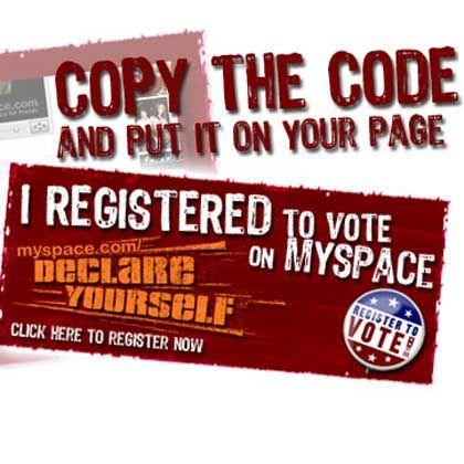 Wahlaufruf bei MySpace: Registrieren per Klick
